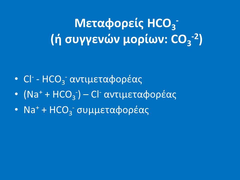 Μεταφορείς HCO 3 - (ή συγγενών μορίων: CO 3 -2 ) Cl - - HCO 3 - αντιμεταφορέας (Νa + + HCO 3 - ) – Cl - αντιμεταφορέας Na + + HCO 3 - συμμεταφορέας