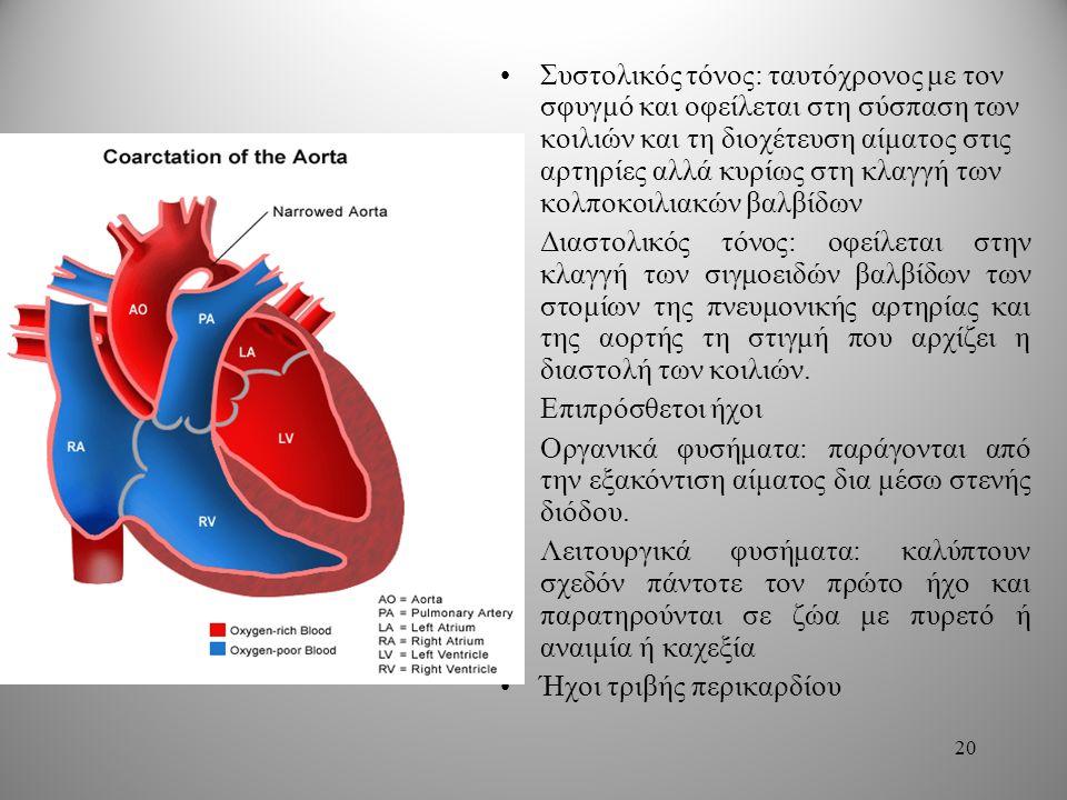 Συστολικός τόνος: ταυτόχρονος με τον σφυγμό και οφείλεται στη σύσπαση των κοιλιών και τη διοχέτευση αίματος στις αρτηρίες αλλά κυρίως στη κλαγγή των κολποκοιλιακών βαλβίδων Διαστολικός τόνος: οφείλεται στην κλαγγή των σιγμοειδών βαλβίδων των στομίων της πνευμονικής αρτηρίας και της αορτής τη στιγμή που αρχίζει η διαστολή των κοιλιών.