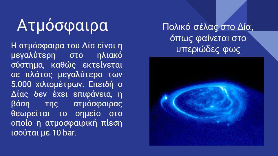 Ατμόσφαιρα Η ατμόσφαιρα του Δία είναι η μεγαλύτερη στο ηλιακό σύστημα, καθώς εκτείνεται σε πλάτος μεγαλύτερο των 5.000 χιλιομέτρων.