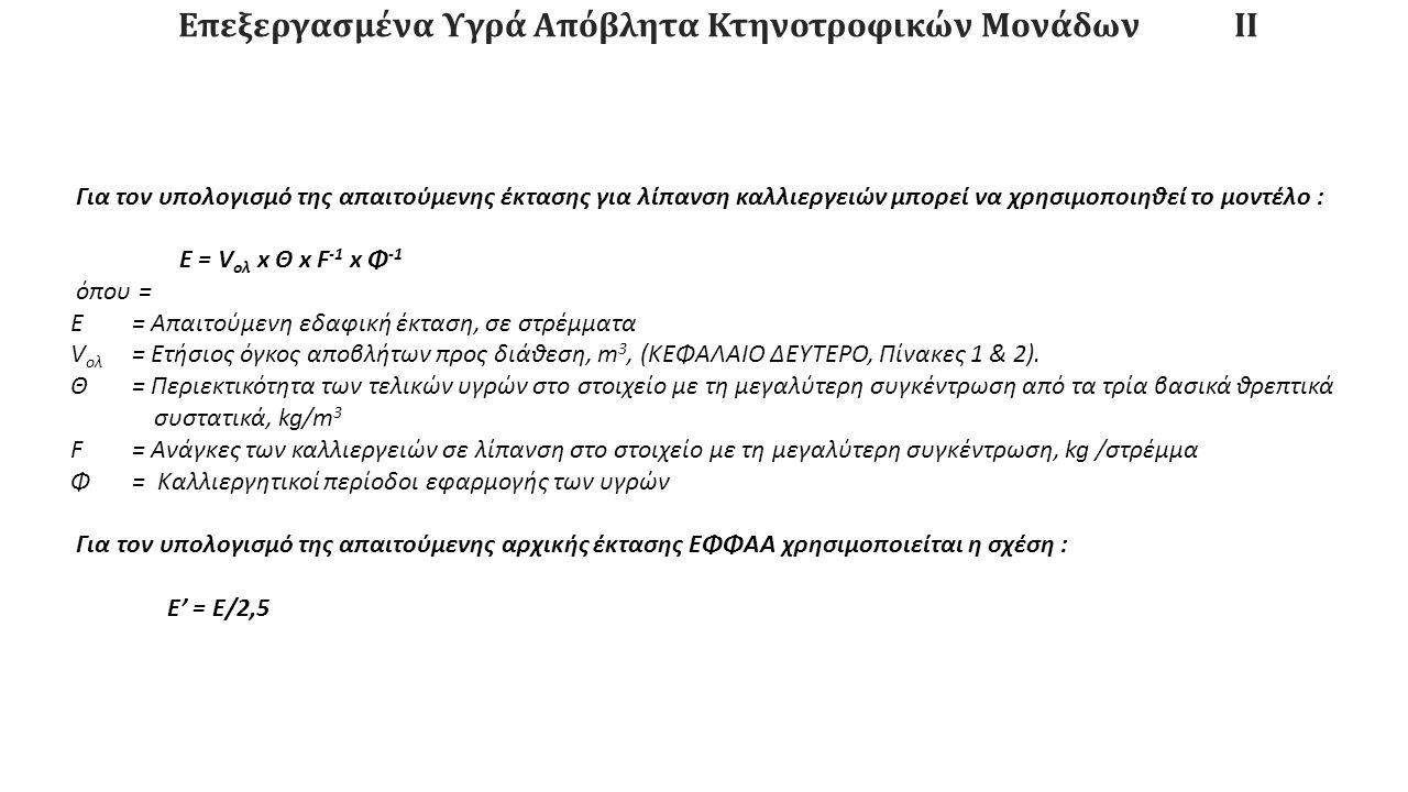 Επεξεργασμένα Υγρά Απόβλητα Κτηνοτροφικών ΜονάδωνΙΙ Για τον υπολογισμό της απαιτούμενης έκτασης για λίπανση καλλιεργειών μπορεί να χρησιμοποιηθεί το μοντέλο : Ε = V ολ x Θ x F -1 x Φ -1 όπου = Ε = Απαιτούμενη εδαφική έκταση, σε στρέμματα V ολ = Ετήσιος όγκος αποβλήτων προς διάθεση, m 3, (ΚΕΦΑΛΑΙΟ ΔΕΥΤΕΡΟ, Πίνακες 1 & 2).