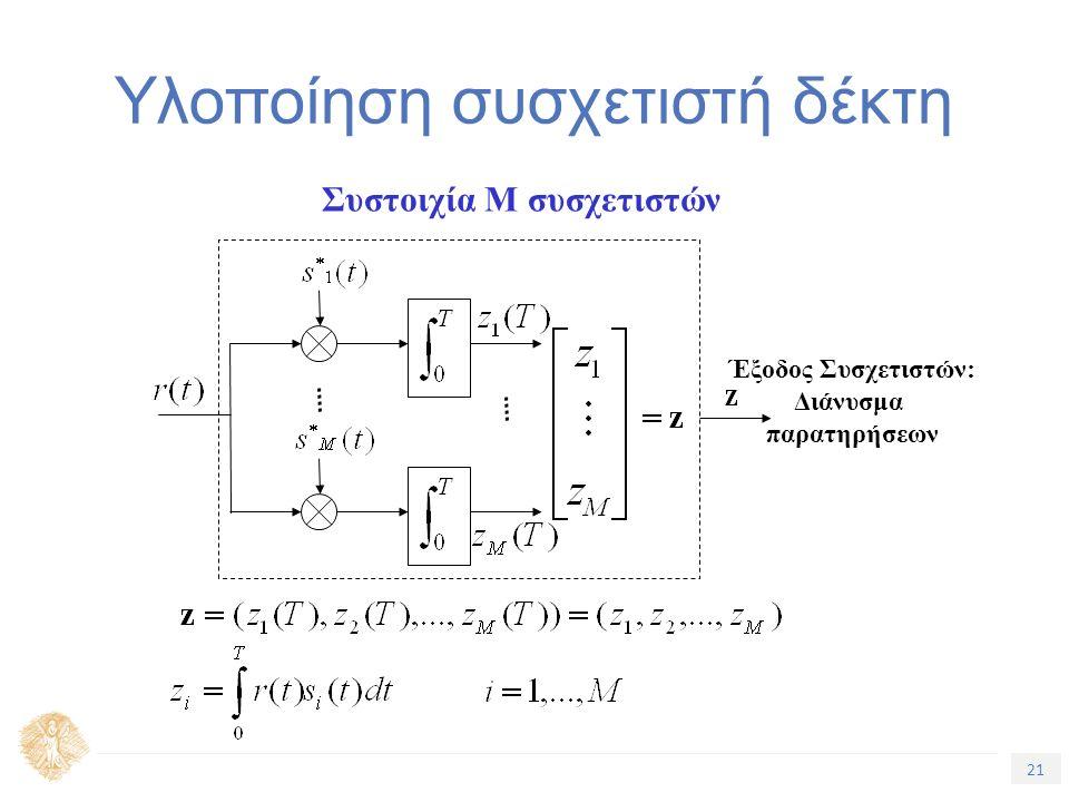 21 Τίτλος Ενότητας Υλοποίηση συσχετιστή δέκτη Συστοιχία M συσχετιστών Έξοδος Συσχετιστών: Διάνυσμα παρατηρήσεων