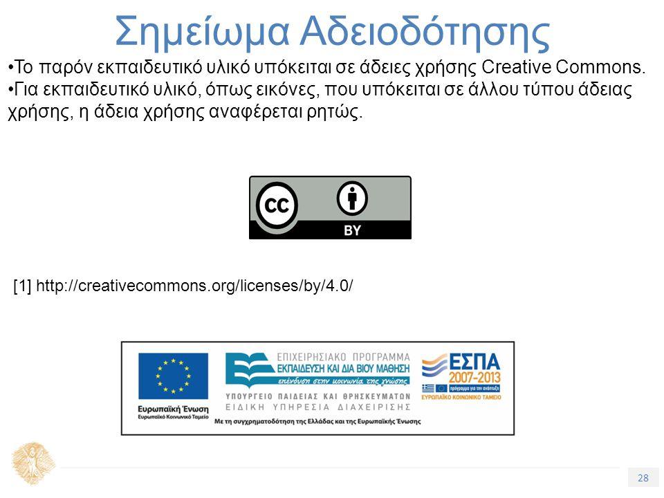 28 Τίτλος Ενότητας Σημείωμα Αδειοδότησης Το παρόν εκπαιδευτικό υλικό υπόκειται σε άδειες χρήσης Creative Commons. Για εκπαιδευτικό υλικό, όπως εικόνες