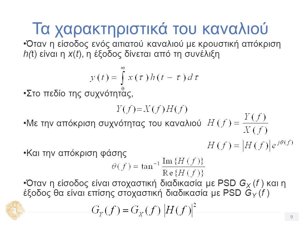9 Τίτλος Ενότητας Τα χαρακτηριστικά του καναλιού Όταν η είσοδος ενός αιτιατού καναλιού με κρουστική απόκριση h(t) είναι η x(t), η έξοδος δίνεται από τη συνέλιξη Στο πεδίο της συχνότητας, Με την απόκριση συχνότητας του καναλιού Και την απόκριση φάσης Όταν η είσοδος είναι στοχαστική διαδικασία με PSD G X (f ) και η έξοδος θα είναι επίσης στοχαστική διαδικασία με PSD G Y (f )