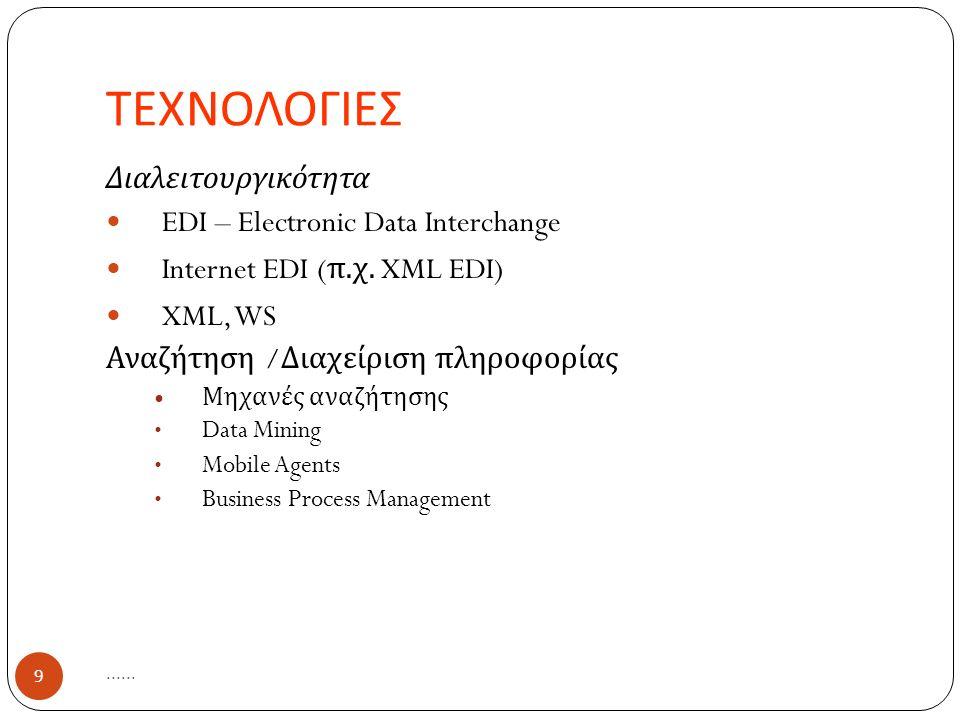 ΤΕΧΝΟΛΟΓΙΕΣ...... 9 Διαλειτουργικότητα EDI – Electronic Data Interchange Internet EDI ( π.
