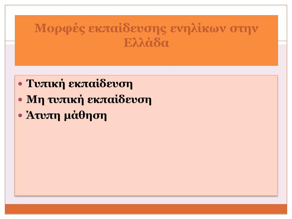 Μορφές εκπαίδευσης ενηλίκων στην Ελλάδα Τυπική εκπαίδευση Μη τυπική εκπαίδευση Άτυπη μάθηση Τυπική εκπαίδευση Μη τυπική εκπαίδευση Άτυπη μάθηση