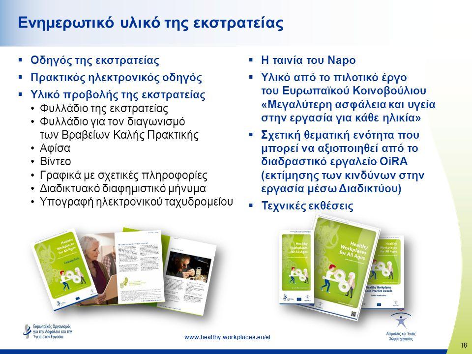 18 www.healthy-workplaces.eu/el Ενημερωτικό υλικό της εκστρατείας  Οδηγός της εκστρατείας  Πρακτικός ηλεκτρονικός οδηγός  Υλικό προβολής της εκστρατείας Φυλλάδιο της εκστρατείας Φυλλάδιο για τον διαγωνισμό των Βραβείων Καλής Πρακτικής Αφίσα Βίντεο Γραφικά με σχετικές πληροφορίες Διαδικτυακό διαφημιστικό μήνυμα Υπογραφή ηλεκτρονικού ταχυδρομείου  Η ταινία του Napo  Υλικό από το πιλοτικό έργο του Ευρωπαϊκού Κοινοβούλιου «Μεγαλύτερη ασφάλεια και υγεία στην εργασία για κάθε ηλικία»  Σχετική θεματική ενότητα που μπορεί να αξιοποιηθεί από το διαδραστικό εργαλείο OiRA (εκτίμησης των κινδύνων στην εργασία μέσω Διαδικτύου)  Τεχνικές εκθέσεις