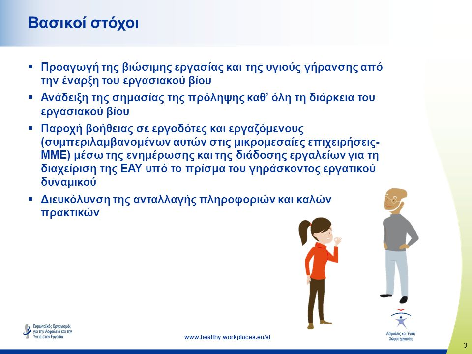 4 www.healthy-workplaces.eu/el Το πρόβλημα  Το εργατικό δυναμικό της Ευρώπης γηράσκει — ο εργασιακός βίος παρατείνεται  Προκλήσεις που προκύπτουν από τις δημογραφικές αλλαγές: γενική έλλειψη εργατικού δυναμικού έλλειψη ειδικευμένων εργαζομένων μεγαλύτερος πληθυσμός εργαζομένων με προβλήματα υγείας/χρόνιες ασθένειες ανησυχίες σχετικά με την παραγωγικότητα των επιχειρήσεων και τον απουσιασμό από την εργασία  Η διαχείριση της ΕΑΥ υπό το πρίσμα του γηράσκοντος εργατικού δυναμικού απαιτεί μια διεπιστημονική προσέγγιση...