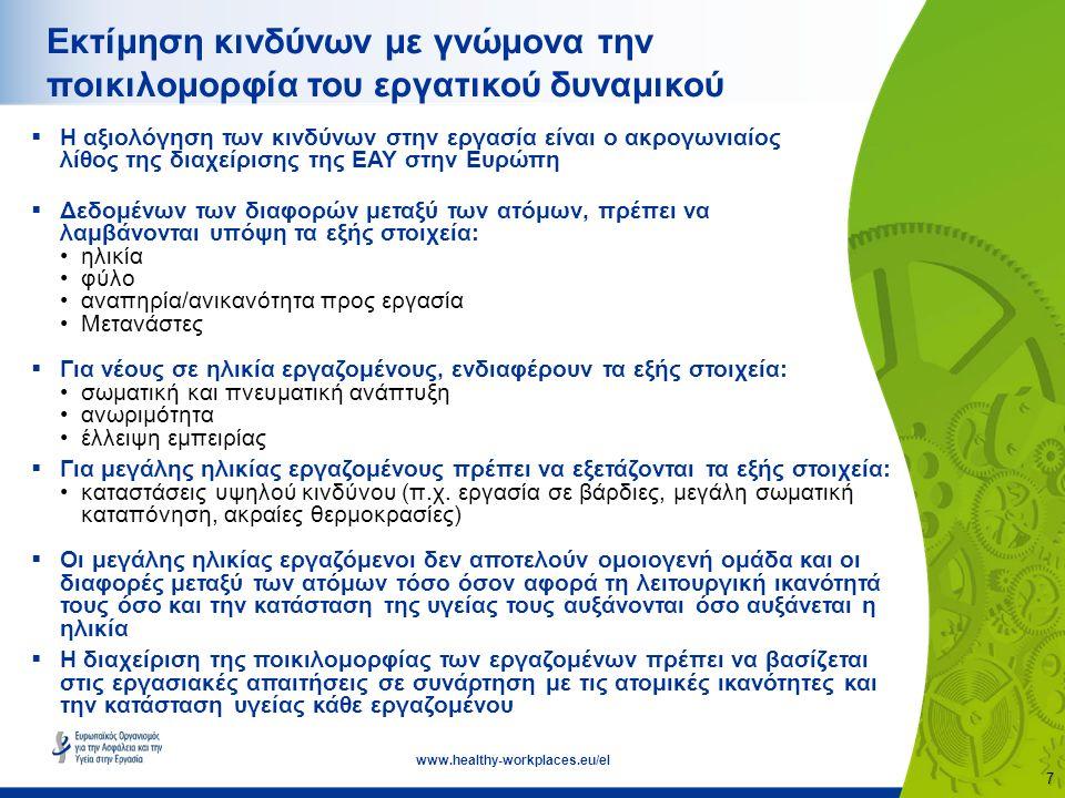 8 www.healthy-workplaces.eu/el Προσαρμογή της εργασίας στον άνθρωπο  Η εργασία πρέπει να προσαρμόζεται στις ικανότητες, τις δεξιότητες και την κατάσταση υγείας του ατόμου, καθώς και σε άλλους παράγοντες διαφοροποίησης των εργαζομένων  Πρόκειται για μια δυναμική και συνεχή διαδικασία καθ' όλη τη διάρκεια του εργασιακού βίου  Παραδείγματα αλλαγών με γνώμονα τις λειτουργικές ικανότητες: χρήση εξοπλισμού κατάλληλος εργονομικός σχεδιασμός επανασχεδιασμός θέσεων εργασίας εναλλαγή εργασιών  Ο καλός σχεδιασμός των χώρων εργασίας και η σωστή οργάνωση της εργασίας είναι προς όφελος όλων των εργαζομένων ανεξάρτητα της ηλικίας τους