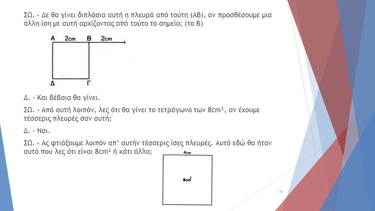 ΣΩ. – Δε θα γίνει διπλάσια αυτή η πλευρά από τούτη (ΑΒ), αν προσθέσουμε μια άλλη ίση με αυτή αρχίζοντας από τούτο το σημείο; (το Β) Δ. – Και βέβαια θα