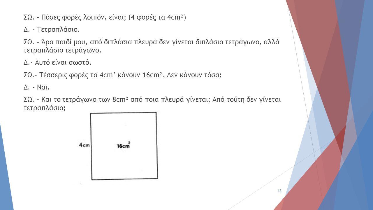 ΣΩ. – Πόσες φορές λοιπόν, είναι; (4 φορές τα 4cm²) Δ. – Τετραπλάσιο. ΣΩ. – Άρα παιδί μου, από διπλάσια πλευρά δεν γίνεται διπλάσιο τετράγωνο, αλλά τετ