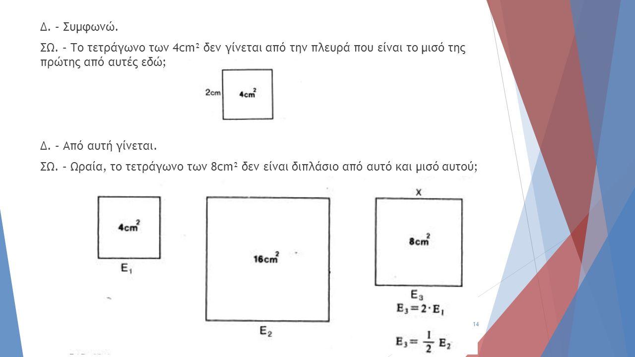Δ. – Συμφωνώ. ΣΩ. – Το τετράγωνο των 4cm² δεν γίνεται από την πλευρά που είναι το μισό της πρώτης από αυτές εδώ; Δ. – Από αυτή γίνεται. ΣΩ. – Ωραία, τ