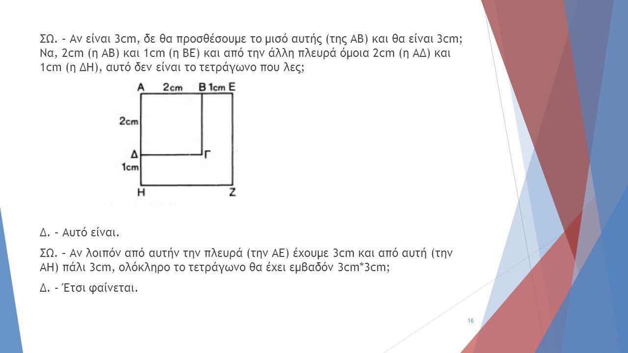 ΣΩ. – Αν είναι 3cm, δε θα προσθέσουμε το μισό αυτής (της ΑΒ) και θα είναι 3cm; Να, 2cm (η ΑΒ) και 1cm (η ΒΕ) και από την άλλη πλευρά όμοια 2cm (η ΑΔ)