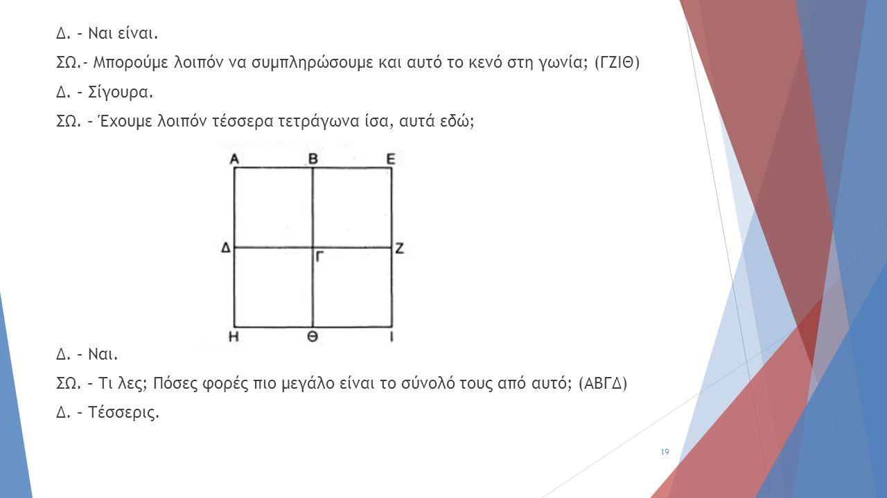 Δ. – Ναι είναι. ΣΩ.- Μπορούμε λοιπόν να συμπληρώσουμε και αυτό το κενό στη γωνία; (ΓΖΙΘ) Δ. – Σίγουρα. ΣΩ. – Έχουμε λοιπόν τέσσερα τετράγωνα ίσα, αυτά