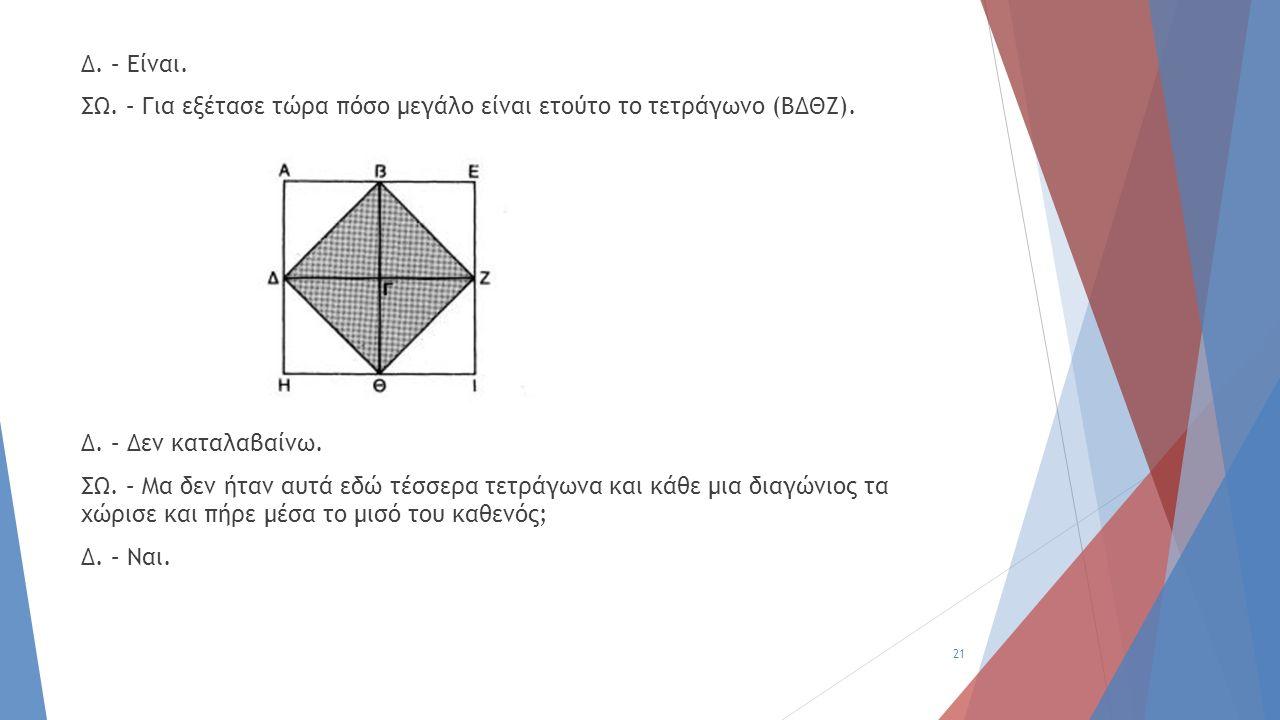 Δ. – Είναι. ΣΩ. – Για εξέτασε τώρα πόσο μεγάλο είναι ετούτο το τετράγωνο (ΒΔΘΖ). Δ. – Δεν καταλαβαίνω. ΣΩ. – Μα δεν ήταν αυτά εδώ τέσσερα τετράγωνα κα