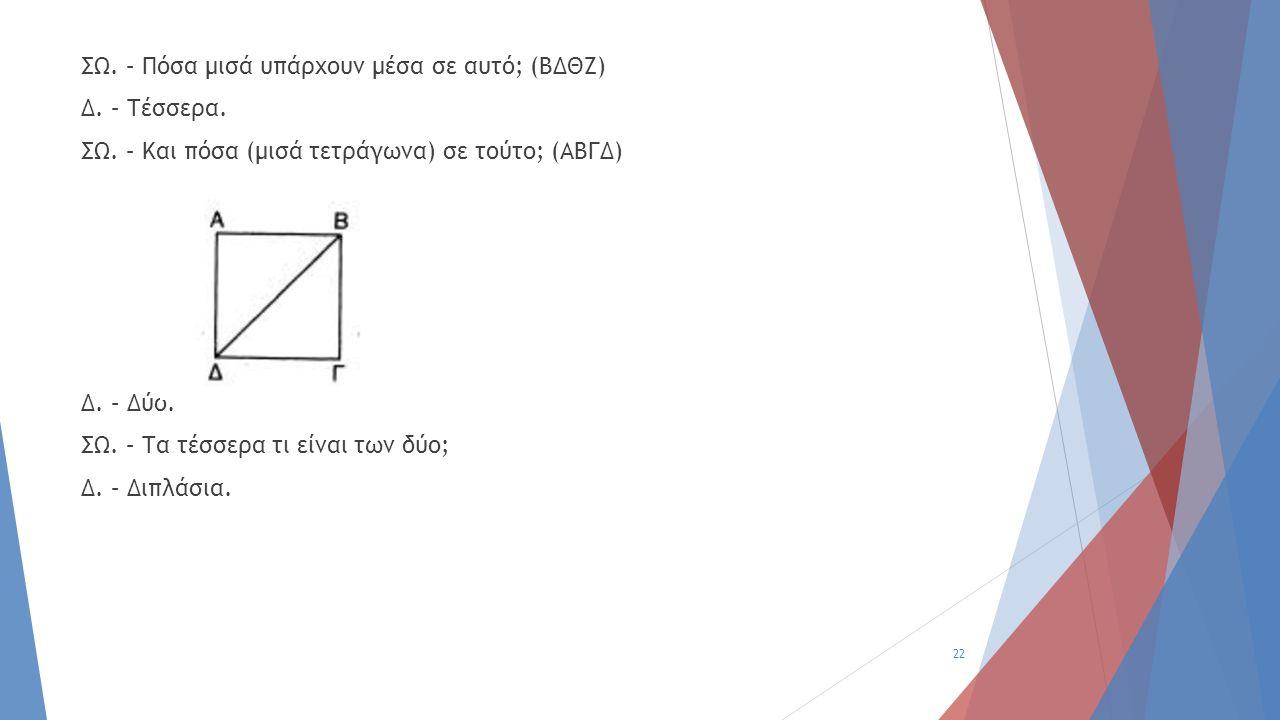 ΣΩ. – Πόσα μισά υπάρχουν μέσα σε αυτό; (ΒΔΘΖ) Δ. – Τέσσερα. ΣΩ. – Και πόσα (μισά τετράγωνα) σε τούτο; (ΑΒΓΔ) Δ. – Δύο. ΣΩ. – Τα τέσσερα τι είναι των δ