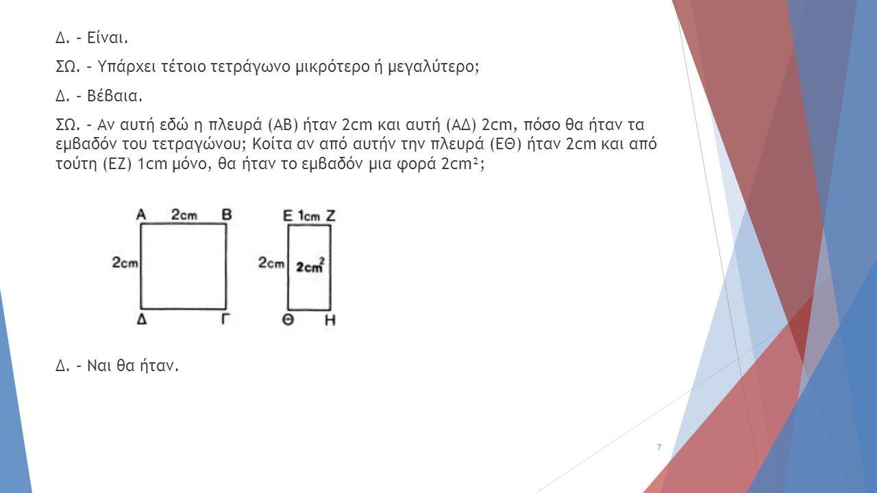 Δ. – Είναι. ΣΩ. – Υπάρχει τέτοιο τετράγωνο μικρότερο ή μεγαλύτερο; Δ. – Βέβαια. ΣΩ. – Αν αυτή εδώ η πλευρά (ΑΒ) ήταν 2cm και αυτή (ΑΔ) 2cm, πόσο θα ήτ