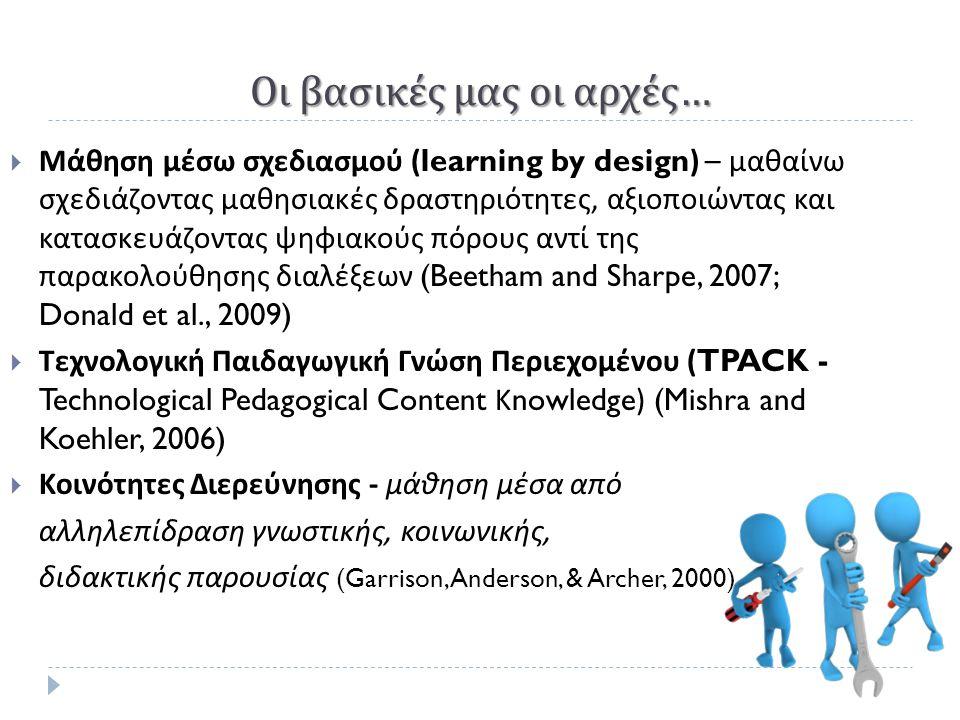 Οι βασικές μας οι αρχές …  Μάθηση μέσω σχεδιασμού (learning by design) – μαθαίνω σχεδιάζοντας μαθησιακές δραστηριότητες, αξιοποιώντας και κατασκευάζοντας ψηφιακούς πόρους αντί της παρακολούθησης διαλέξεων (Beetham and Sharpe, 2007; Donald et al., 2009)  Τεχνολογική Παιδαγωγική Γνώση Περιεχομένου (TPACK - Technological Pedagogical Content Κ nowledge) (Mishra and Koehler, 2006)  Κοινότητες Διερεύνησης - μάθηση μέσα από αλληλεπίδραση γνωστικής, κοινωνικής, διδακτικής παρουσίας (Garrison, Anderson, & Archer, 2000)
