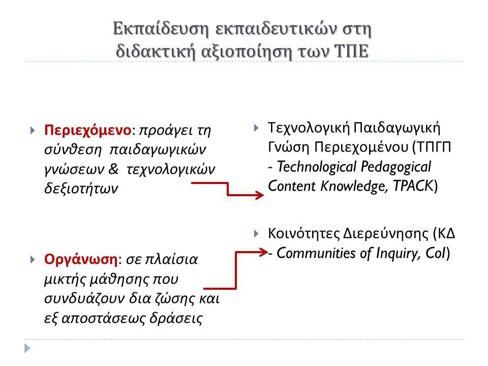Εκπαίδευση εκπαιδευτικών στη διδακτική αξιοποίηση των ΤΠΕ  Περιεχόμενο : προάγει τη σύνθεση παιδαγωγικών γνώσεων & τεχνολογικών δεξιοτήτων  Οργάνωση : σε πλαίσια μικτής μάθησης που συνδυάζουν δια ζώσης και εξ αποστάσεως δράσεις  Τεχνολογική Παιδαγωγική Γνώση Περιεχομένου ( ΤΠΓΠ - Technological Pedagogical Content Κ nowledge, TPACK)  Κοινότητες Διερεύνησης ( ΚΔ - Communities of Inquiry, CoI)