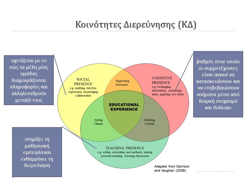 Κοινότητες Διερεύνησης ( ΚΔ ) σχετίζεται με το π ώς τα μέλη μίας ομάδας διαμοιράζονται π ληροφορίες και αλληλε π ιδρούν μεταξύ τους στηρίζει τη μαθησιακή εμ π ειρία και ενθαρρύνει τη διερεύνηση βαθμός στον ο π οίο οι συμμετέχοντες είναι ικανοί να κατασκευάσουν και να ε π ιβεβαιώσουν νοήματα μέσα α π ό διαρκή στοχασμό και διάλογο