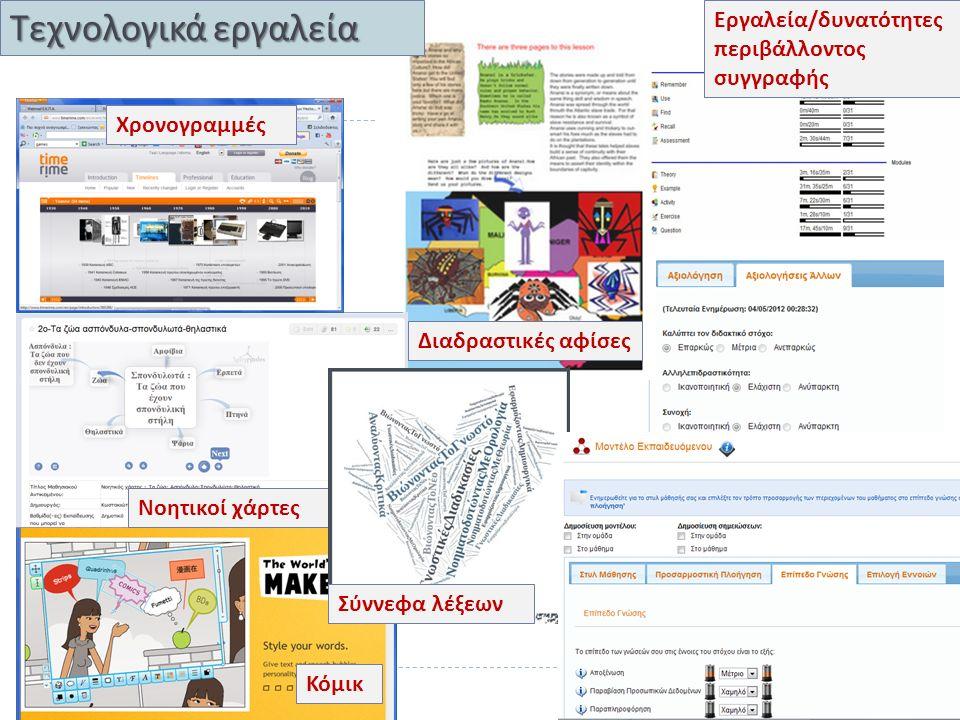Διαδραστικές αφίσες Κόμικ Νοητικοί χάρτες Χρονογραμμές Τεχνολογικά εργαλεία Σύννεφα λέξεων Εργαλεία / δυνατότητες περιβάλλοντος συγγραφής