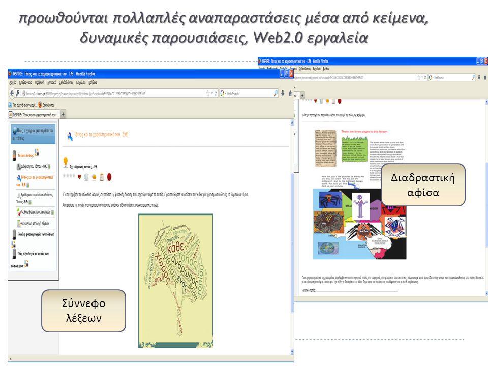 προωθούνται πολλαπλές αναπαραστάσεις μέσα από κείμενα, δυναμικές παρουσιάσεις, Web2.0 εργαλεία Σύννεφο λέξεων Διαδραστική αφίσα