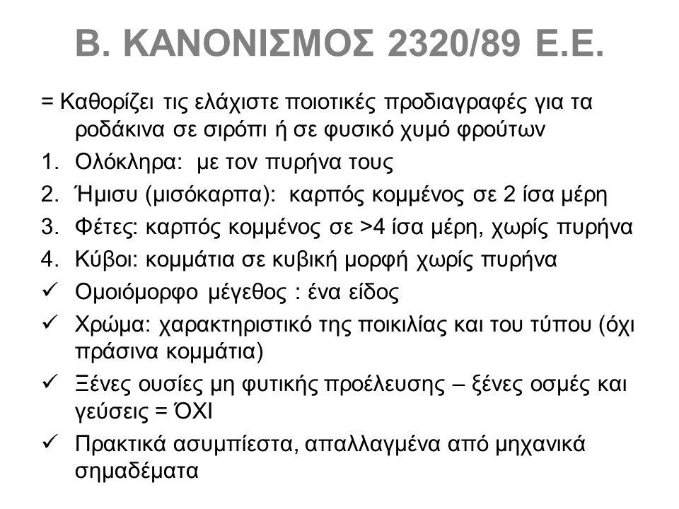 Β. ΚΑΝΟΝΙΣΜΟΣ 2320/89 Ε.Ε.