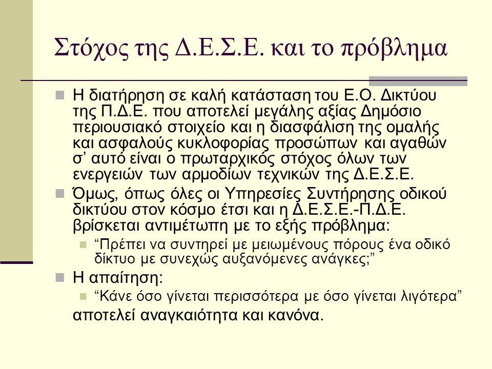 Στόχος της Δ.Ε.Σ.Ε. και το πρόβλημα H διατήρηση σε καλή κατάσταση του Ε.Ο.
