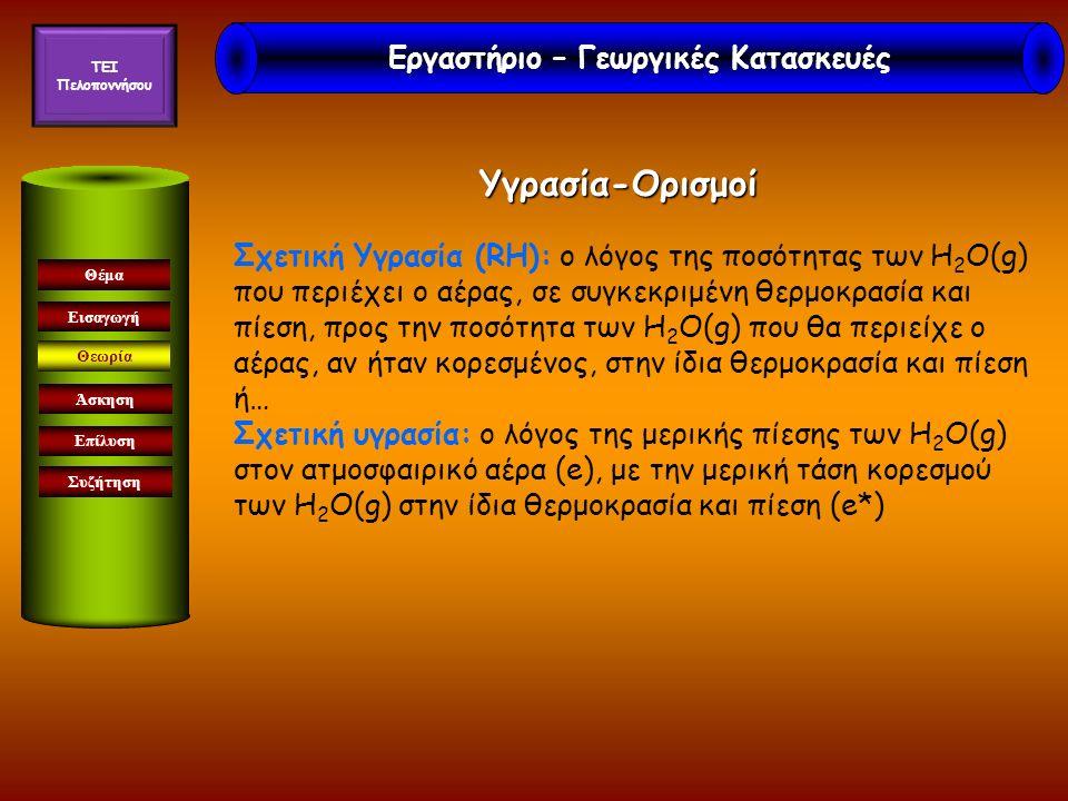 Υγρασία-Ορισμοί Εισαγωγή Θεωρία Άσκηση Επίλυση Συζήτηση Θέμα Σχετική Υγρασία (RH): ο λόγος της ποσότητας των Η 2 Ο(g) που περιέχει ο αέρας, σε συγκεκριμένη θερμοκρασία και πίεση, προς την ποσότητα των Η 2 Ο(g) που θα περιείχε ο αέρας, αν ήταν κορεσμένος, στην ίδια θερμοκρασία και πίεση ή… Σχετική υγρασία: ο λόγος της μερικής πίεσης των Η 2 Ο(g) στον ατμοσφαιρικό αέρα (e), με την μερική τάση κορεσμού των Η 2 Ο(g) στην ίδια θερμοκρασία και πίεση (e*) Εργαστήριο – Γεωργικές Κατασκευές TEI Πελοποννήσου