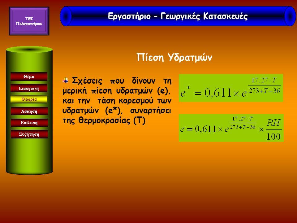 Πίεση Υδρατμών Εισαγωγή Θεωρία Άσκηση Επίλυση Συζήτηση Θέμα Σχέσεις που δίνουν τη μερική πίεση υδρατμών (e), και την τάση κορεσμού των υδρατμών (e*), συναρτήσει της θερμοκρασίας (Τ) Εργαστήριο – Γεωργικές Κατασκευές TEI Πελοποννήσου