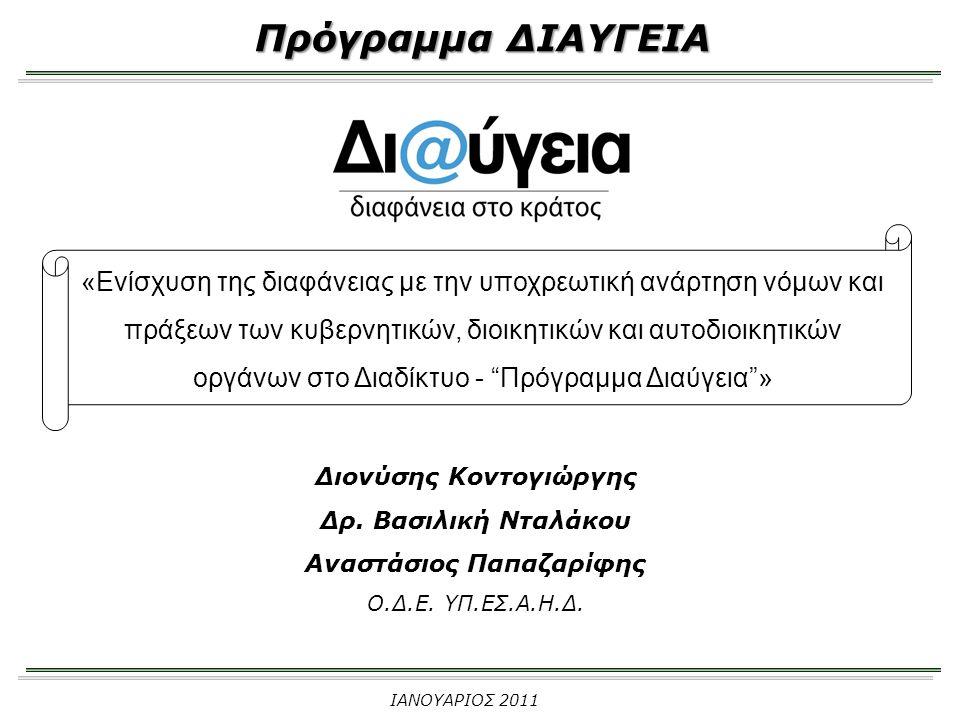 Πρόγραμμα ΔΙΑΥΓΕΙΑ «Ενίσχυση της διαφάνειας με την υποχρεωτική ανάρτηση νόμων και πράξεων των κυβερνητικών, διοικητικών και αυτοδιοικητικών οργάνων στο Διαδίκτυο - Πρόγραμμα Διαύγεια » Διονύσης Κοντογιώργης Δρ.