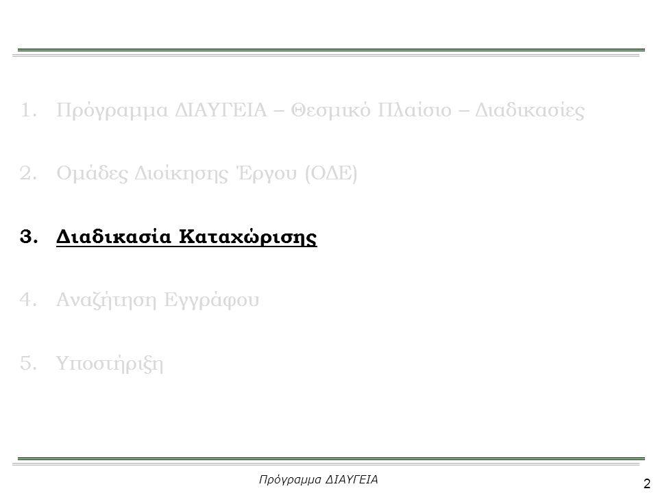21 1.Πρόγραμμα ΔΙΑΥΓΕΙΑ – Θεσμικό Πλαίσιο – Διαδικασίες 2.Ομάδες Διοίκησης Έργου (ΟΔΕ) 3.Διαδικασία Καταχώρισης 4.Αναζήτηση Εγγράφου 5.Υποστήριξη Πρόγραμμα ΔΙΑΥΓΕΙΑ