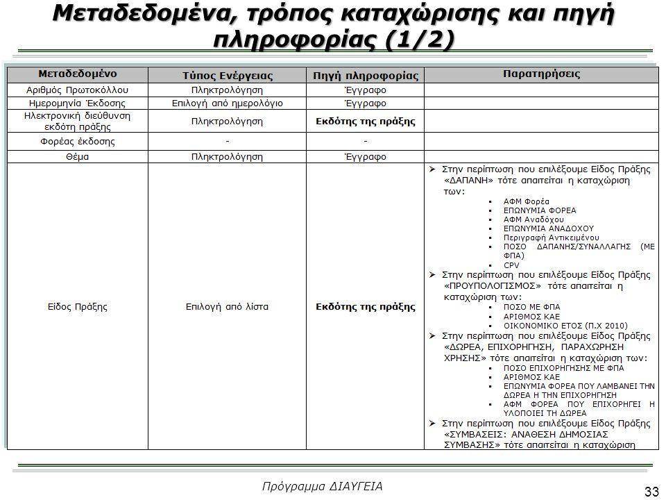 33 Μεταδεδομένα, τρόπος καταχώρισης και πηγή πληροφορίας (1/2) Πρόγραμμα ΔΙΑΥΓΕΙΑ