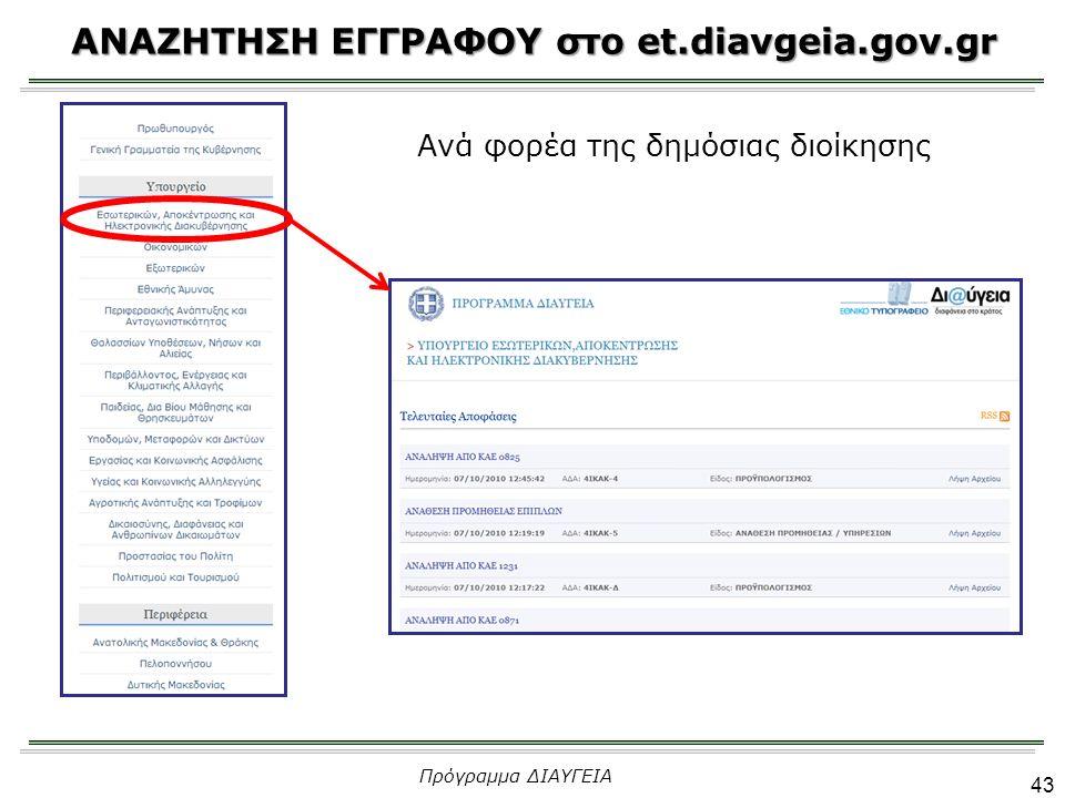 ΑΝΑΖΗΤΗΣΗ ΕΓΓΡΑΦΟΥ στο et.diavgeia.gov.gr 43 Πρόγραμμα ΔΙΑΥΓΕΙΑ Ανά φορέα της δημόσιας διοίκησης