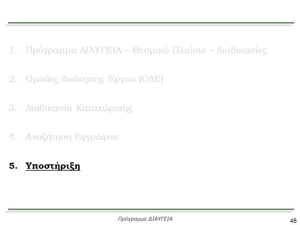 46 1.Πρόγραμμα ΔΙΑΥΓΕΙΑ – Θεσμικό Πλαίσιο – Διαδικασίες 2.Ομάδες Διοίκησης Έργου (ΟΔΕ) 3.Διαδικασία Καταχώρισης 4.Αναζήτηση Εγγράφου 5.Υποστήριξη Πρόγραμμα ΔΙΑΥΓΕΙΑ