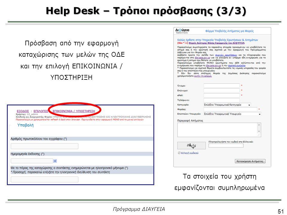 51 Πρόγραμμα ΔΙΑΥΓΕΙΑ Πρόσβαση από την εφαρμογή καταχώρισης των μελών της ΟΔΕ και την επιλογή ΕΠΙΚΟΙΝΩΝΙΑ / ΥΠΟΣΤΗΡΙΞΗ Τα στοιχεία του χρήστη εμφανίζονται συμπληρωμένα Help Desk – Τρόποι πρόσβασης (3/3)