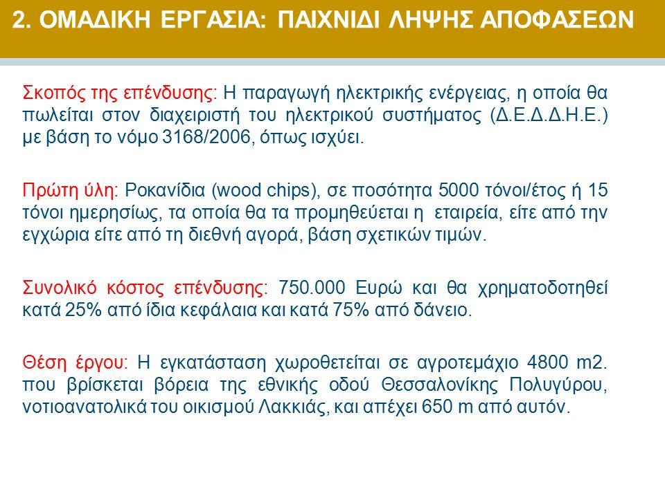 Σκοπός της επένδυσης: Η παραγωγή ηλεκτρικής ενέργειας, η οποία θα πωλείται στον διαχειριστή του ηλεκτρικού συστήματος (Δ.Ε.Δ.Δ.Η.Ε.) με βάση το νόμο 3