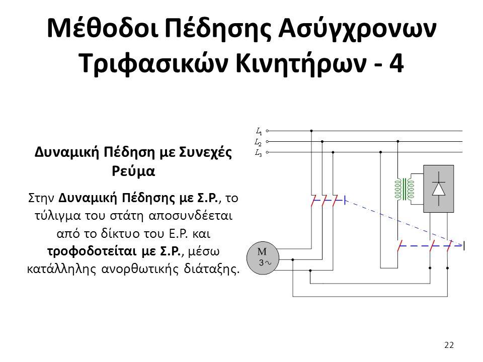 Μέθοδοι Πέδησης Ασύγχρονων Τριφασικών Κινητήρων - 4 Δυναμική Πέδηση με Συνεχές Ρεύμα Στην Δυναμική Πέδησης με Σ.Ρ., το τύλιγμα του στάτη αποσυνδέεται από το δίκτυο του Ε.Ρ.
