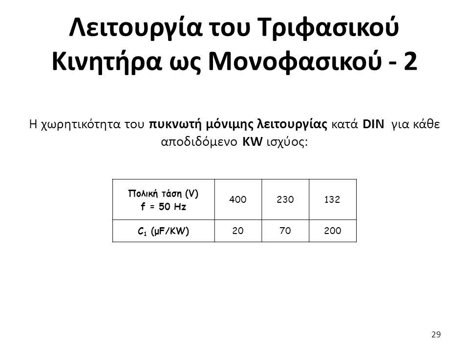 Λειτουργία του Τριφασικού Κινητήρα ως Μονοφασικού - 2 29 Η χωρητικότητα του πυκνωτή μόνιμης λειτουργίας κατά DIN για κάθε αποδιδόμενο KW ισχύος: Πολική τάση (V) f = 50 Hz 400230132 C 1 (μF/KW)2070200
