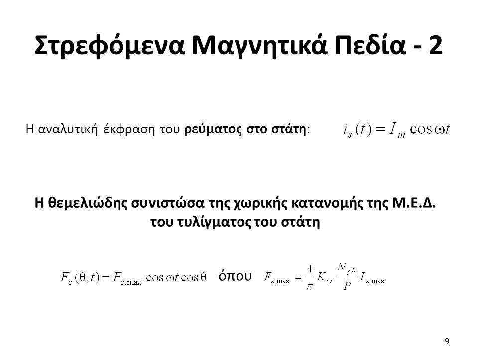 Στρεφόμενα Μαγνητικά Πεδία - 2 Η αναλυτική έκφραση του ρεύματος στο στάτη: 9 Η θεμελιώδης συνιστώσα της χωρικής κατανομής της Μ.Ε.Δ.