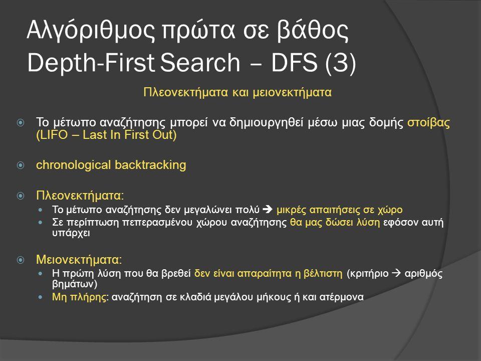 Αλγόριθμος πρώτα σε βάθος Depth-First Search – DFS (3) Πλεονεκτήματα και μειονεκτήματα  Το μέτωπο αναζήτησης μπορεί να δημιουργηθεί μέσω μιας δομής στοίβας (LIFO – Last In First Out)  chronological backtracking  Πλεονεκτήματα: Το μέτωπο αναζήτησης δεν μεγαλώνει πολύ  μικρές απαιτήσεις σε χώρο Σε περίπτωση πεπερασμένου χώρου αναζήτησης θα μας δώσει λύση εφόσον αυτή υπάρχει  Μειονεκτήματα: Η πρώτη λύση που θα βρεθεί δεν είναι απαραίτητα η βέλτιστη (κριτήριο  αριθμός βημάτων) Μη πλήρης: αναζήτηση σε κλαδιά μεγάλου μήκους ή και ατέρμονα
