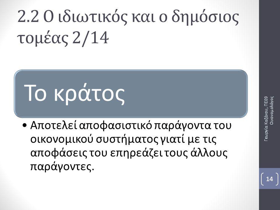 Γεωργία Καζάκου, ΠΕ09 Οικονομολόγος 14 Το κράτος Αποτελεί αποφασιστικό παράγοντα του οικονομικού συστήματος γιατί με τις αποφάσεις του επηρεάζει τους άλλους παράγοντες.
