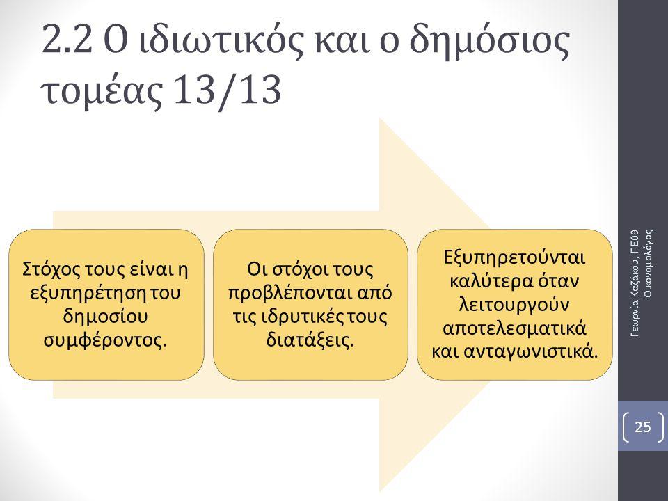Γεωργία Καζάκου, ΠΕ09 Οικονομολόγος 25 2.2 Ο ιδιωτικός και ο δημόσιος τομέας 13/13 Στόχος τους είναι η εξυπηρέτηση του δημοσίου συμφέροντος. Οι στόχοι