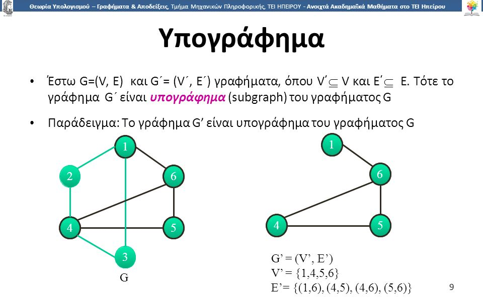 9 Θεωρία Υπολογισμού – Γραφήματα & Αποδείξεις, Τμήμα Μηχανικών Πληροφορικής, ΤΕΙ ΗΠΕΙΡΟΥ - Ανοιχτά Ακαδημαϊκά Μαθήματα στο ΤΕΙ Ηπείρου Υπογράφημα Έστω G=(V, E) και G´= (V´, E´) γραφήματα, όπου V΄  V και E΄  E.