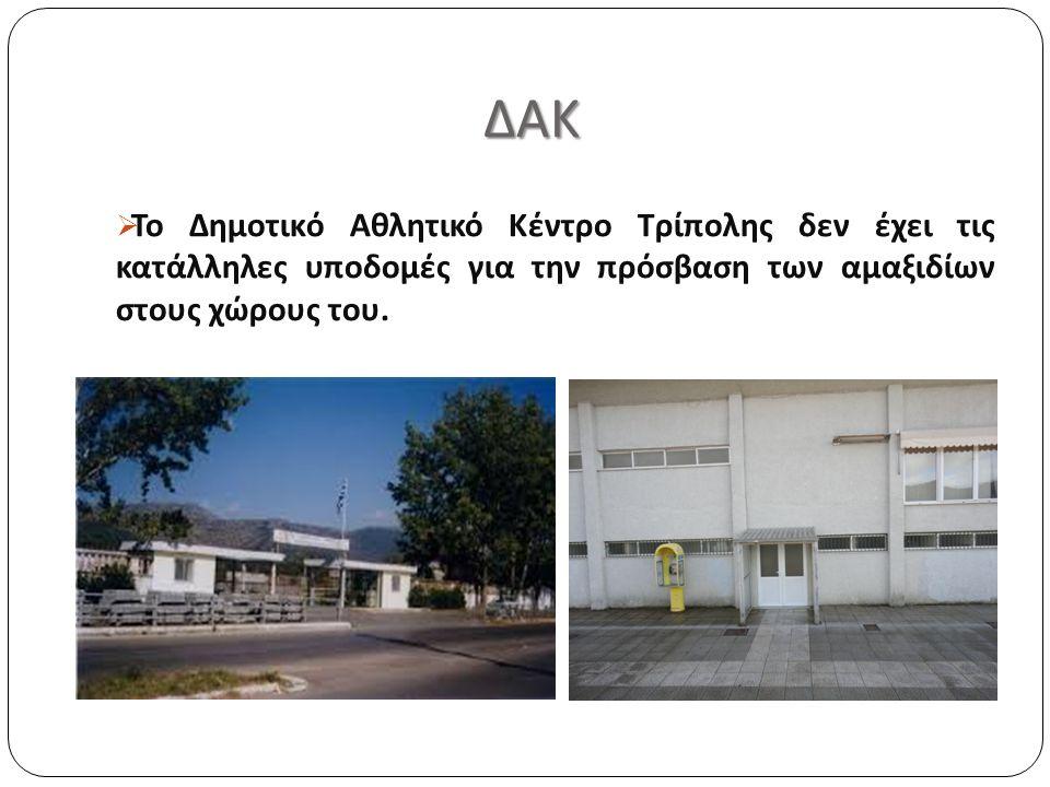 ΔΑΚ ΔΑΚ  Το Δημοτικό Αθλητικό Κέντρο Τρίπολης δεν έχει τις κατάλληλες υποδομές για την πρόσβαση των αμαξιδίων στους χώρους του.
