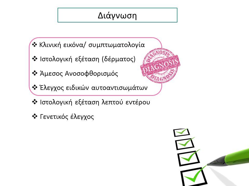 Διάγνωση  Κλινική εικόνα/ συμπτωματολογία  Ιστολογική εξέταση (δέρματος)  Άμεσος Ανοσοφθορισμός  Έλεγχος ειδικών αυτοαντισωμάτων  Ιστολογική εξέτ
