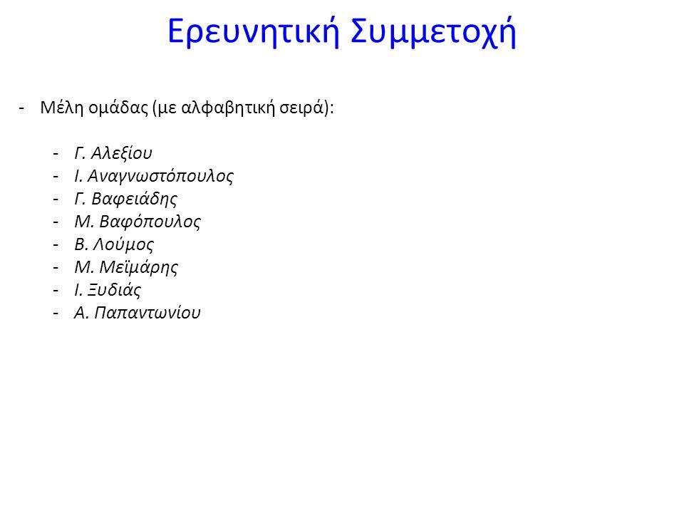 Ερευνητική Συμμετοχή -Μέλη ομάδας (με αλφαβητική σειρά): -Γ.