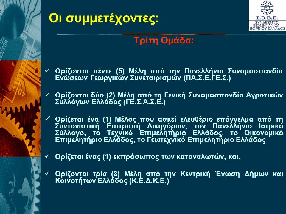 Οι συμμετέχοντες: Τρίτη Ομάδα: Ορίζονται πέντε (5) Μέλη από την Πανελλήνια Συνομοσπονδία Ενώσεων Γεωργικών Συνεταιρισμών (ΠΑ.Σ.Ε.ΓΕ.Σ.) Ορίζονται δύο (2) Μέλη από τη Γενική Συνομοσπονδία Αγροτικών Συλλόγων Ελλάδος (ΓΕ.Σ.Α.Σ.Ε.) Ορίζεται ένα (1) Mέλος που ασκεί ελευθέριο επάγγελμα από τη Συντονιστική Επιτροπή Δικηγόρων, τον Πανελλήνιο Ιατρικό Σύλλογο, το Τεχνικό Επιμελητήριο Ελλάδος, το Οικονομικό Επιμελητήριο Ελλάδος, το Γεωτεχνικό Επιμελητήριο Ελλάδος Ορίζεται ένας (1) εκπρόσωπος των καταναλωτών, και, Ορίζονται τρία (3) Mέλη από την Κεντρική Ένωση Δήμων και Κοινοτήτων Ελλάδος (Κ.Ε.Δ.Κ.Ε.)