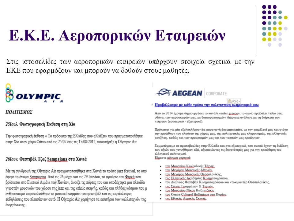 Ε.Κ.Ε. Αεροπορικών Εταιρειών Στις ιστοσελίδες των αεροπορικών εταιρειών υπάρχουν στοιχεία σχετικά με την ΕΚΕ που εφαρμόζουν και μπορούν να δοθούν στου
