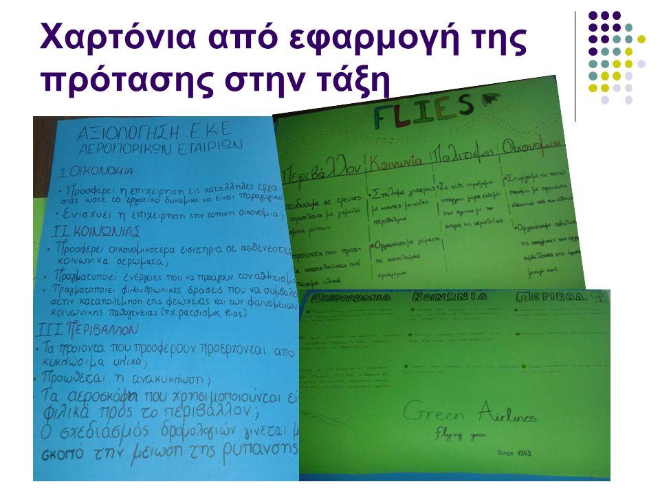 Χαρτόνια από εφαρμογή της πρότασης στην τάξη