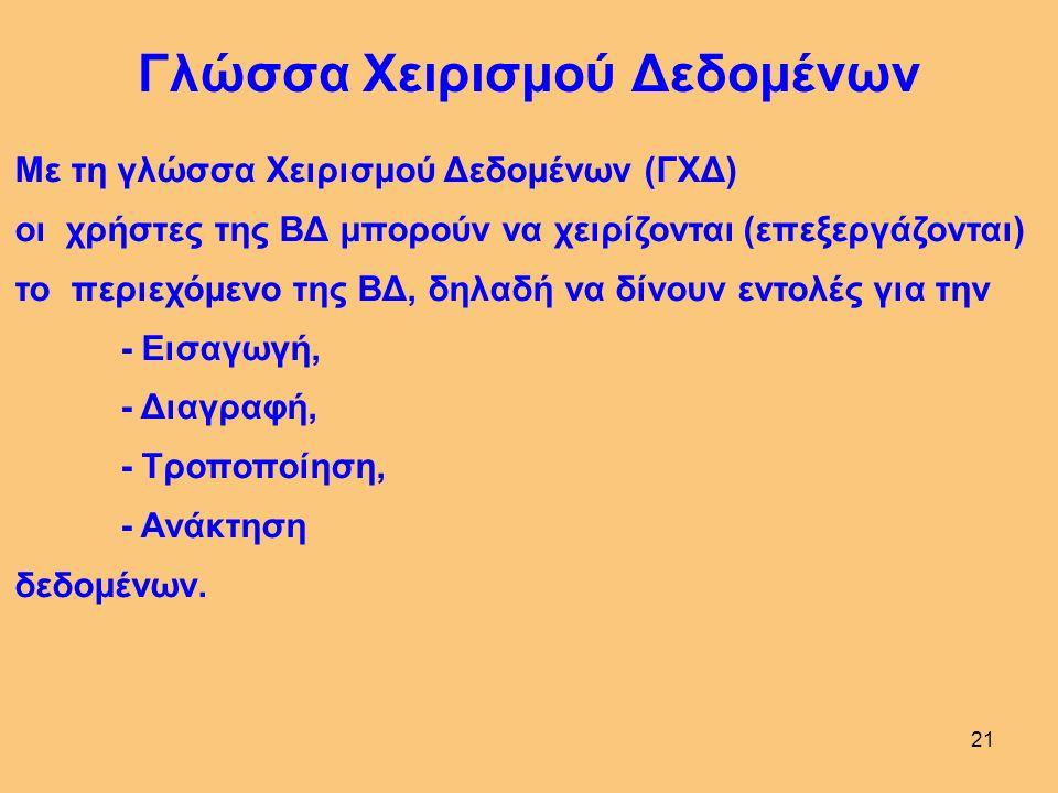 20 Ορισμός ΣΔΒΔ Γλώσσα 4 ης Γενιάς Σύνολο προγραμμάτων για την αξιοποίηση μιας ΒΔ Προς τούτο, το ΣΔΒΔ διαθέτει: Γλώσσα Χειρισμού Δεδομένων (ΓΧΔ) για τη διαχείριση της ΒΔ Γλώσσα Ορισμού Δεδομένων (ΓΟΔ) για τον ορισμό της ΒΔ